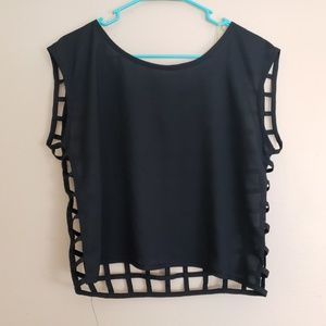 Black Poppy Caged Back Top Black Sz Medium E5